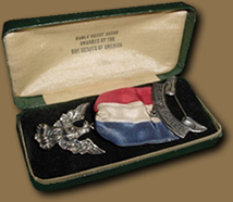 Eagle badge in coffin box